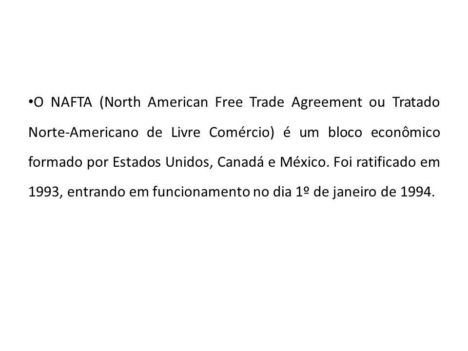 Objetivos do NAFTA -Garantir aos países participantes uma situação de livre comércio, derrubando as barreiras alfandegárias, facilitando o comércio de mercadorias entre os países membros; - Reduzir os custos comerciais entre os países membros; -Ajustar a economia dos países membros, para ganhar competitividade no cenário de globalização econômica; -Aumentar as exportações de mercadorias e serviços entre os países membros;