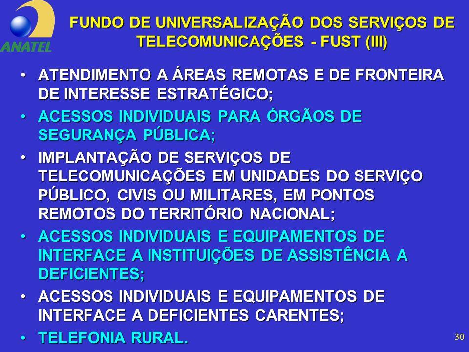 30 ATENDIMENTO A ÁREAS REMOTAS E DE FRONTEIRA DE INTERESSE ESTRATÉGICO;ATENDIMENTO A ÁREAS REMOTAS E DE FRONTEIRA DE INTERESSE ESTRATÉGICO; ACESSOS INDIVIDUAIS PARA ÓRGÃOS DE SEGURANÇA PÚBLICA;ACESSOS INDIVIDUAIS PARA ÓRGÃOS DE SEGURANÇA PÚBLICA; IMPLANTAÇÃO DE SERVIÇOS DE TELECOMUNICAÇÕES EM UNIDADES DO SERVIÇO PÚBLICO, CIVIS OU MILITARES, EM PONTOS REMOTOS DO TERRITÓRIO NACIONAL;IMPLANTAÇÃO DE SERVIÇOS DE TELECOMUNICAÇÕES EM UNIDADES DO SERVIÇO PÚBLICO, CIVIS OU MILITARES, EM PONTOS REMOTOS DO TERRITÓRIO NACIONAL; ACESSOS INDIVIDUAIS E EQUIPAMENTOS DE INTERFACE A INSTITUIÇÕES DE ASSISTÊNCIA A DEFICIENTES;ACESSOS INDIVIDUAIS E EQUIPAMENTOS DE INTERFACE A INSTITUIÇÕES DE ASSISTÊNCIA A DEFICIENTES; ACESSOS INDIVIDUAIS E EQUIPAMENTOS DE INTERFACE A DEFICIENTES CARENTES;ACESSOS INDIVIDUAIS E EQUIPAMENTOS DE INTERFACE A DEFICIENTES CARENTES; TELEFONIA RURAL.TELEFONIA RURAL.