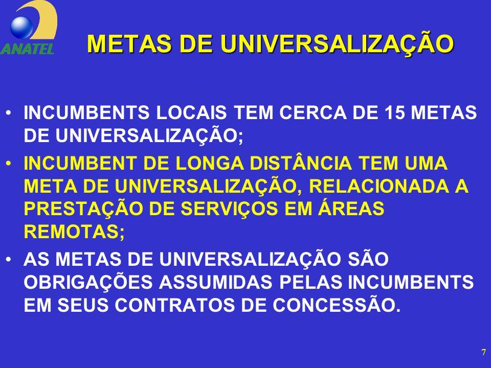 7 METAS DE UNIVERSALIZAÇÃO INCUMBENTS LOCAIS TEM CERCA DE 15 METAS DE UNIVERSALIZAÇÃO; INCUMBENT DE LONGA DISTÂNCIA TEM UMA META DE UNIVERSALIZAÇÃO, RELACIONADA A PRESTAÇÃO DE SERVIÇOS EM ÁREAS REMOTAS; AS METAS DE UNIVERSALIZAÇÃO SÃO OBRIGAÇÕES ASSUMIDAS PELAS INCUMBENTS EM SEUS CONTRATOS DE CONCESSÃO.