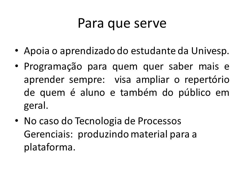 Para que serve Apoia o aprendizado do estudante da Univesp.