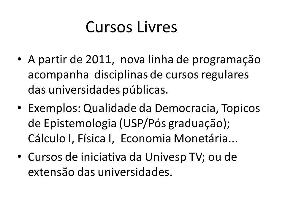 Cursos Livres A partir de 2011, nova linha de programação acompanha disciplinas de cursos regulares das universidades públicas. Exemplos: Qualidade da