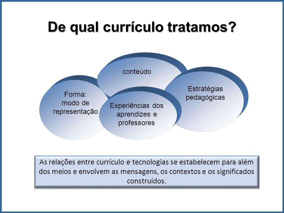Forma: modo de representação conteúdo Estratégias pedagógicas Experiências dos aprendizes e professores As relações entre currículo e tecnologias se estabelecem para além dos meios e envolvem as mensagens, os contextos e os significados construídos.