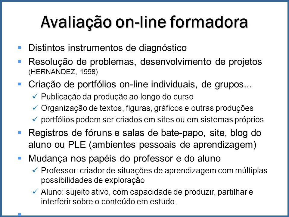 Distintos instrumentos de diagnóstico Resolução de problemas, desenvolvimento de projetos (HERNANDEZ, 1998) Criação de portfólios on-line individuais, de grupos...