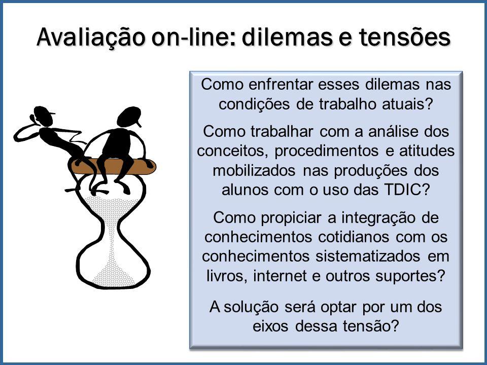 Avaliação on-line: dilemas e tensões Como enfrentar esses dilemas nas condições de trabalho atuais.