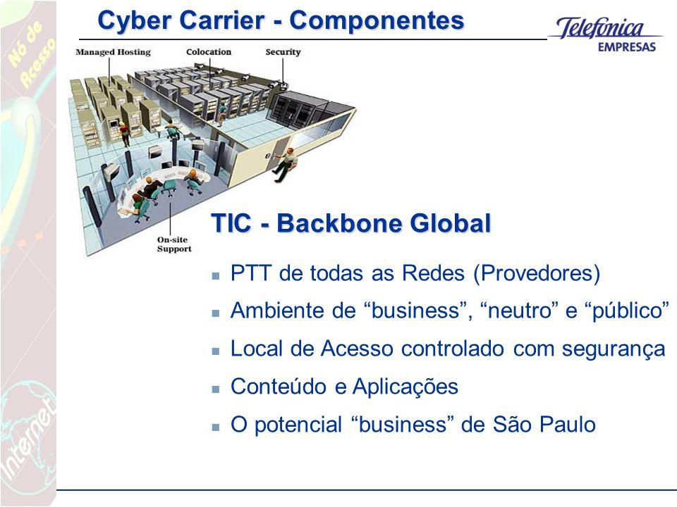 TIC - Backbone Global PTT de todas as Redes (Provedores) Ambiente de business, neutro e público Local de Acesso controlado com segurança Conteúdo e Aplicações O potencial business de São Paulo