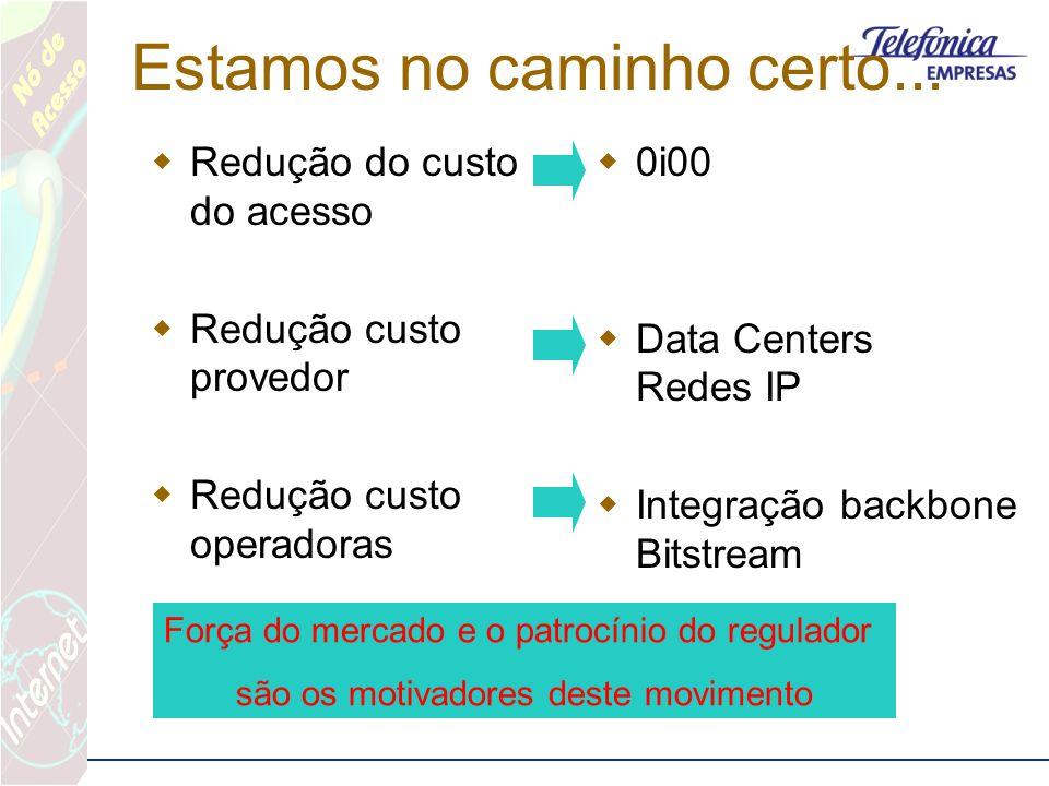 Estamos no caminho certo... Redução do custo do acesso Redução custo provedor Redução custo operadoras 0i00 Data Centers Redes IP Integração backbone