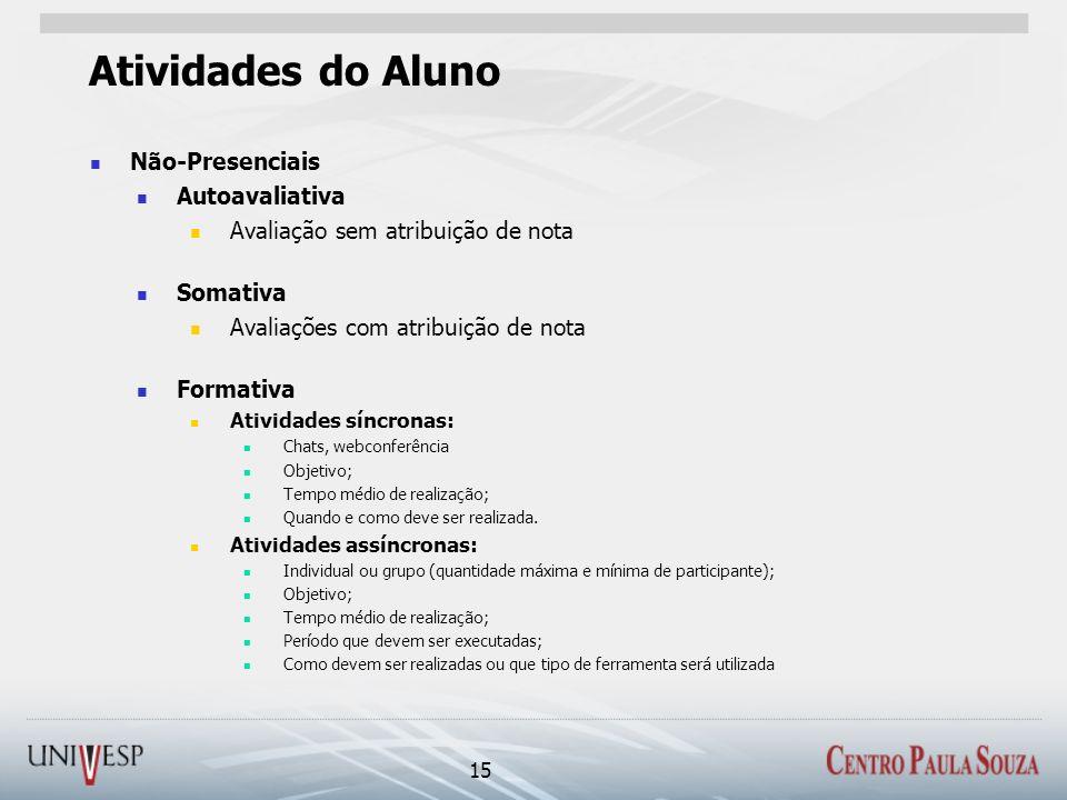 Atividades do Aluno Não-Presenciais Autoavaliativa Avaliação sem atribuição de nota Somativa Avaliações com atribuição de nota Formativa Atividades sí