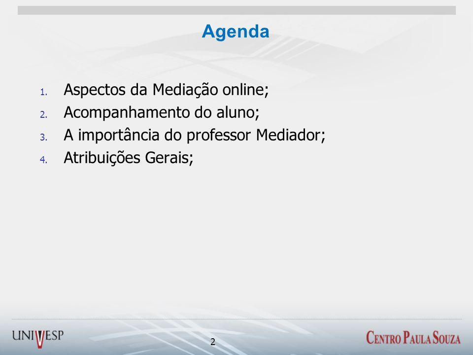 Agenda 1. Aspectos da Mediação online; 2. Acompanhamento do aluno; 3. A importância do professor Mediador; 4. Atribuições Gerais; 2