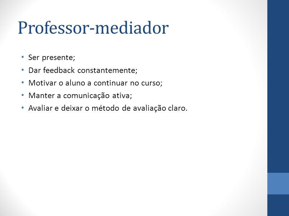 Professor-mediador Ser presente; Dar feedback constantemente; Motivar o aluno a continuar no curso; Manter a comunicação ativa; Avaliar e deixar o mét