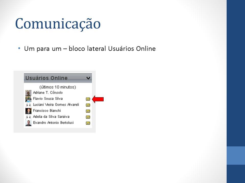 Comunicação Um para um – bloco lateral Usuários Online