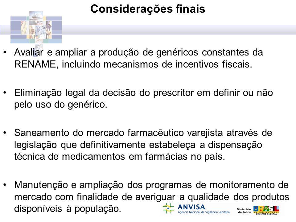 Considerações finais Avaliar e ampliar a produção de genéricos constantes da RENAME, incluindo mecanismos de incentivos fiscais. Eliminação legal da d