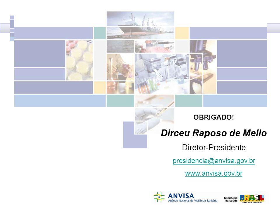 OBRIGADO! Dirceu Raposo de Mello Diretor-Presidente presidencia@anvisa.gov.br www.anvisa.gov.br