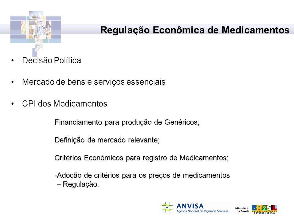 Regulação Econômica de Medicamentos Decisão Política Mercado de bens e serviços essenciais CPI dos Medicamentos Financiamento para produção de Genéric