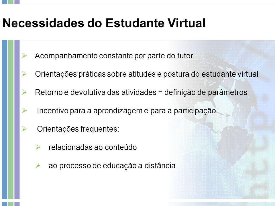 Necessidades do Estudante Virtual Acompanhamento constante por parte do tutor Orientações práticas sobre atitudes e postura do estudante virtual Retor