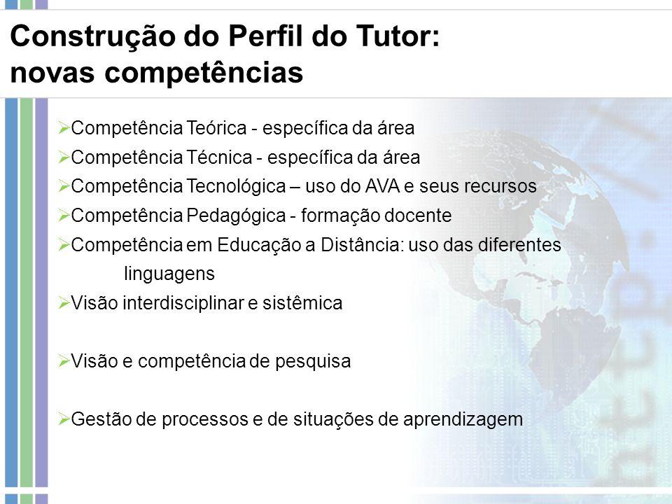 Construção do Perfil do Tutor: novas competências Competência Teórica - específica da área Competência Técnica - específica da área Competência Tecnol