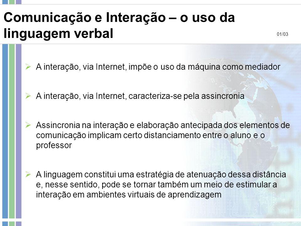 Comunicação e Interação – o uso da linguagem verbal A interação, via Internet, impõe o uso da máquina como mediador A interação, via Internet, caracte