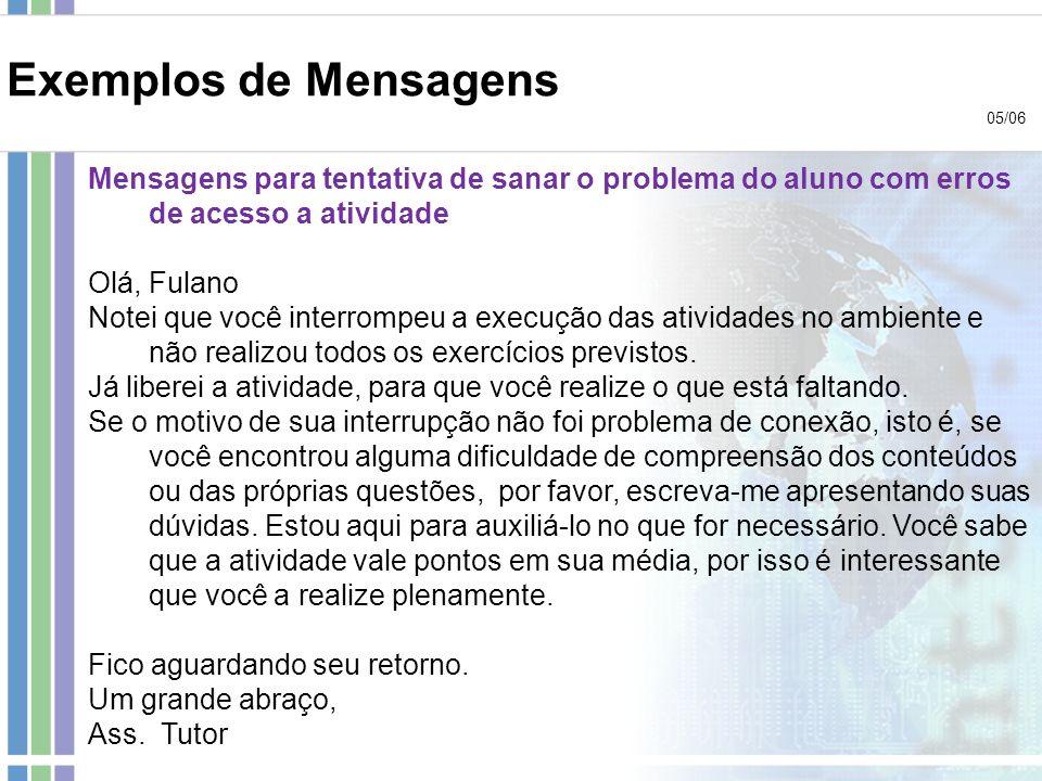 Exemplos de Mensagens 05/06 Mensagens para tentativa de sanar o problema do aluno com erros de acesso a atividade Olá, Fulano Notei que você interromp