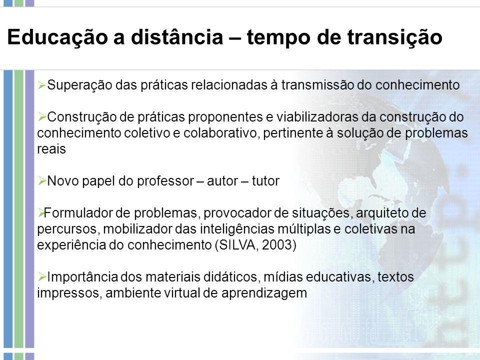 Superação das práticas relacionadas à transmissão do conhecimento Construção de práticas proponentes e viabilizadoras da construção do conhecimento co