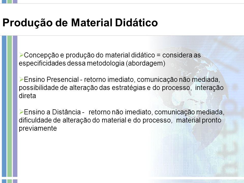 Concepção e produção do material didático = considera as especificidades dessa metodologia (abordagem) Ensino Presencial - retorno imediato, comunicaç