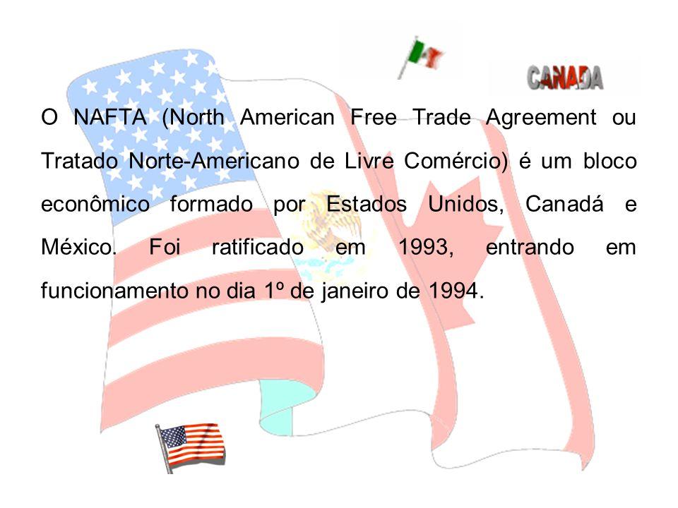 O NAFTA (North American Free Trade Agreement ou Tratado Norte-Americano de Livre Comércio) é um bloco econômico formado por Estados Unidos, Canadá e M