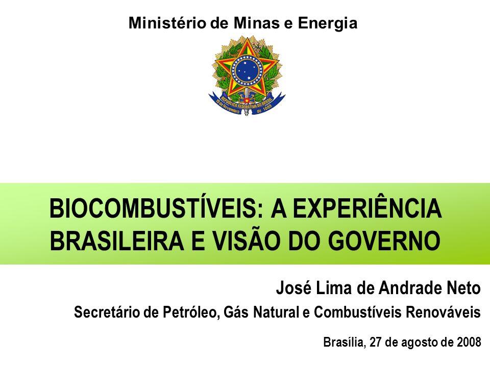 Ministério de Minas e Energia BIOCOMBUSTÍVEIS: A EXPERIÊNCIA BRASILEIRA E VISÃO DO GOVERNO José Lima de Andrade Neto Secretário de Petróleo, Gás Natural e Combustíveis Renováveis Brasília, 27 de agosto de 2008