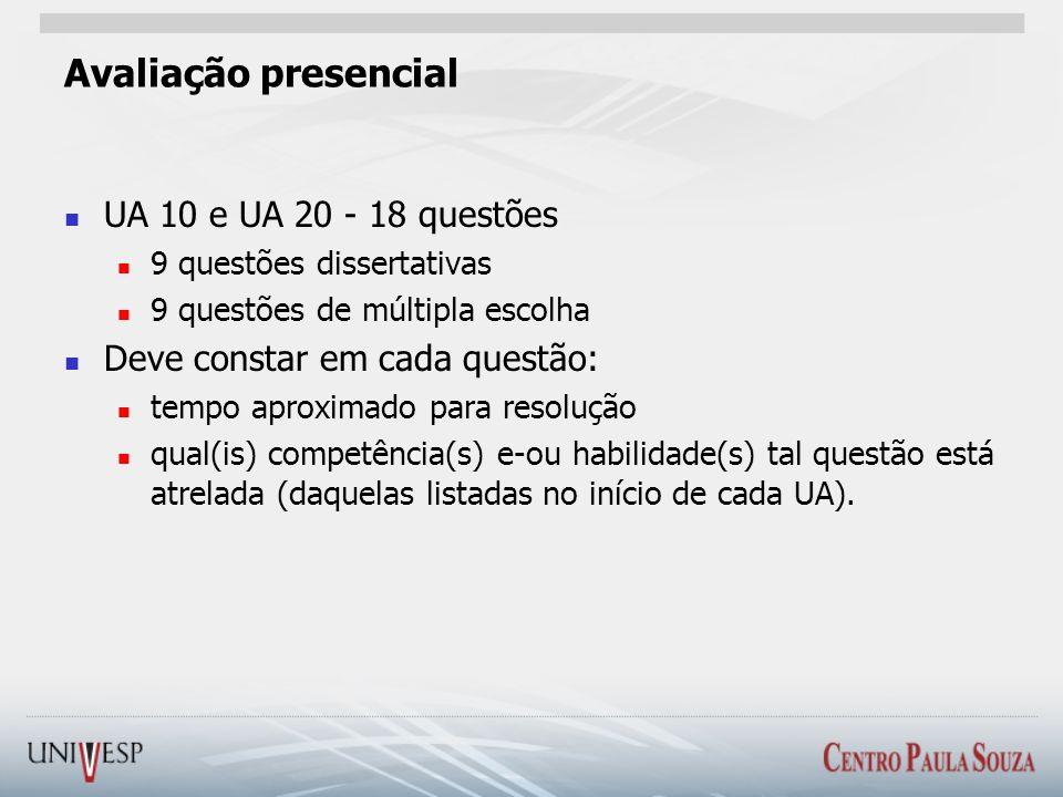 Avaliação presencial UA 10 e UA 20 - 18 questões 9 questões dissertativas 9 questões de múltipla escolha Deve constar em cada questão: tempo aproximado para resolução qual(is) competência(s) e-ou habilidade(s) tal questão está atrelada (daquelas listadas no início de cada UA).