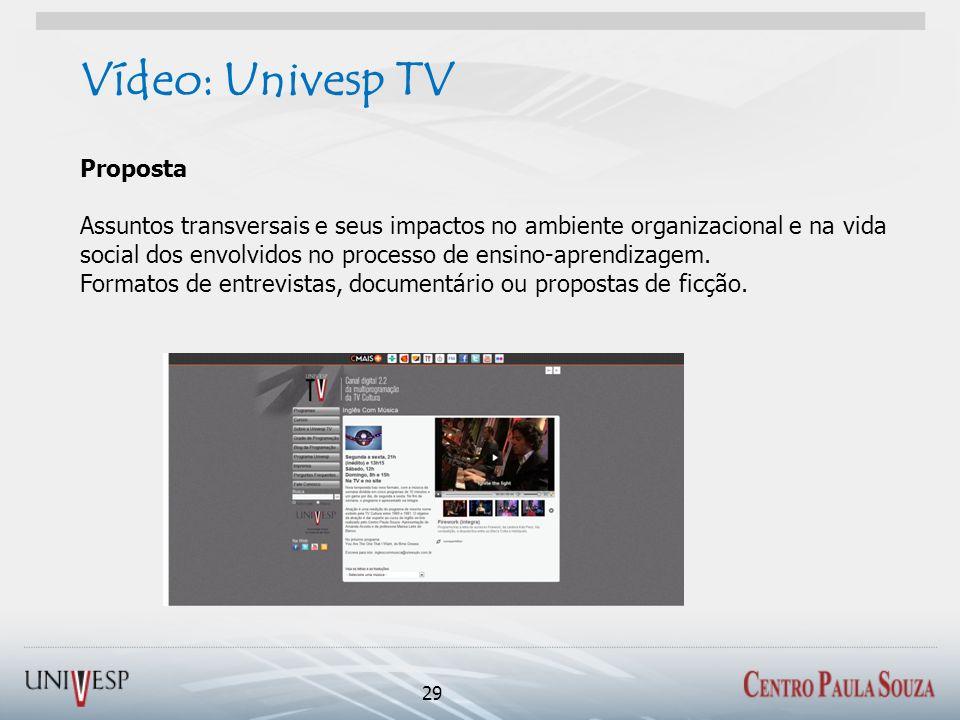 Vídeo: Univesp TV 29 Proposta Assuntos transversais e seus impactos no ambiente organizacional e na vida social dos envolvidos no processo de ensino-aprendizagem.