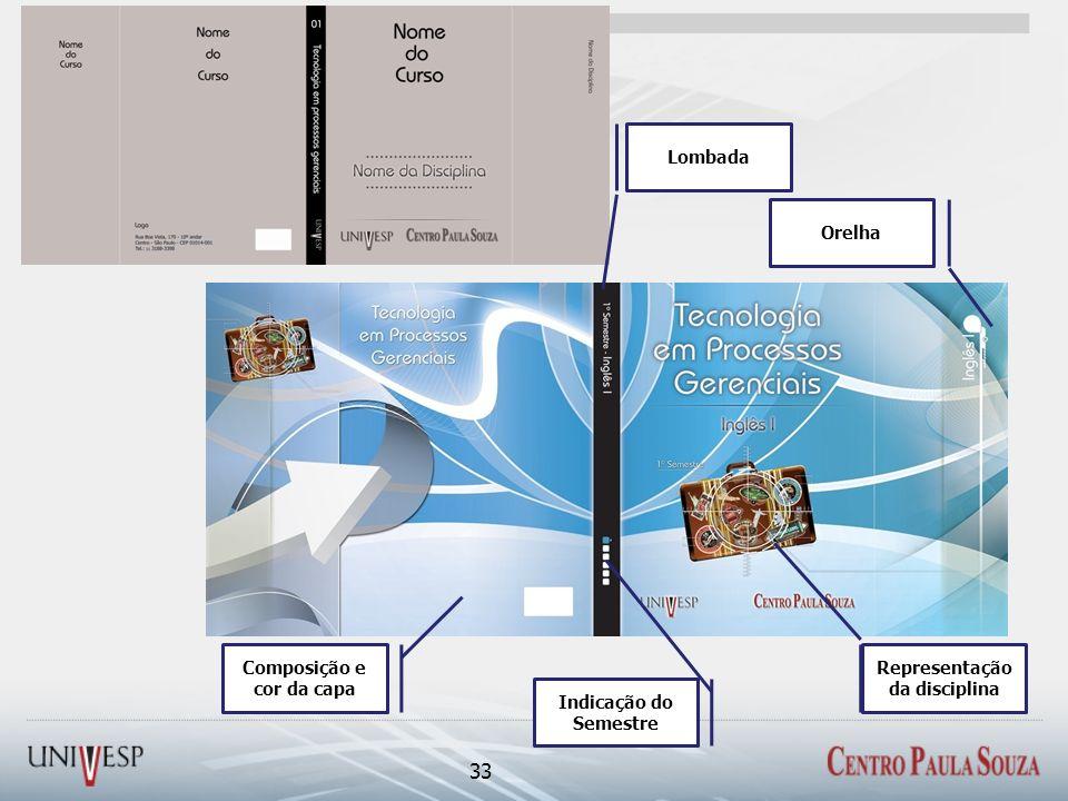33 Lombada Composição e cor da capa Orelha Indicação do Semestre Representação da disciplina