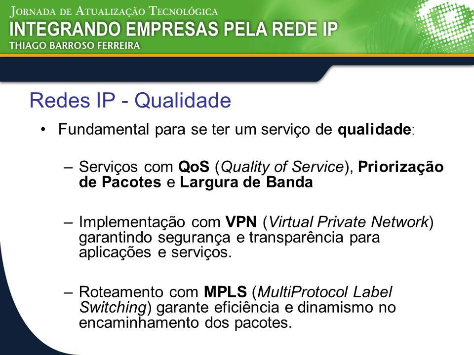 Redes IP - Qualidade Fundamental para se ter um serviço de qualidade : –Serviços com QoS (Quality of Service), Priorização de Pacotes e Largura de Ban