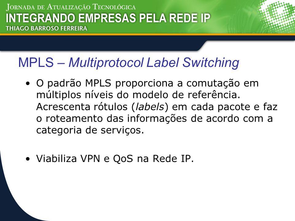 MPLS – Multiprotocol Label Switching O padrão MPLS proporciona a comutação em múltiplos níveis do modelo de referência. Acrescenta rótulos (labels) em
