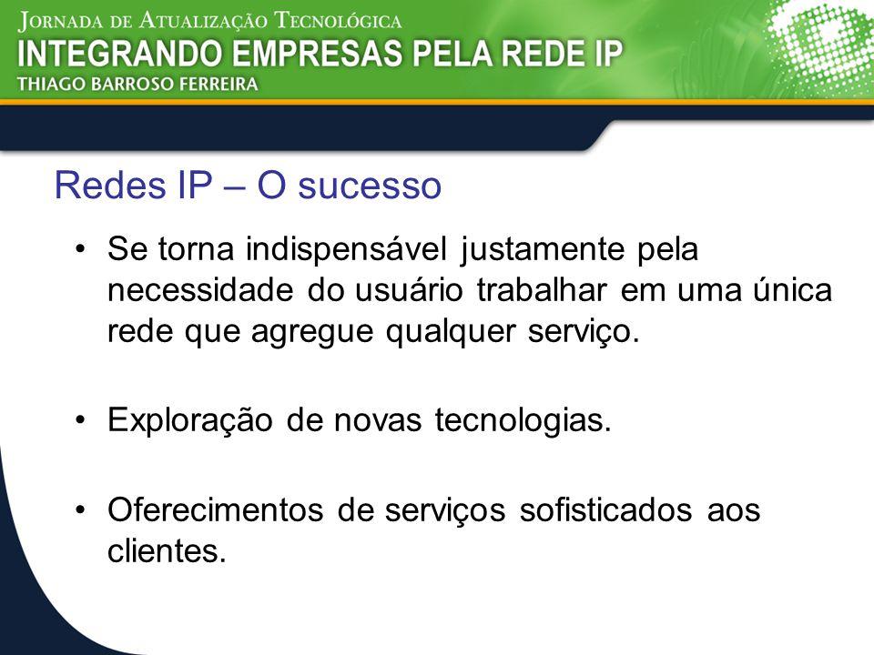 Redes IP – O sucesso Se torna indispensável justamente pela necessidade do usuário trabalhar em uma única rede que agregue qualquer serviço. Exploraçã