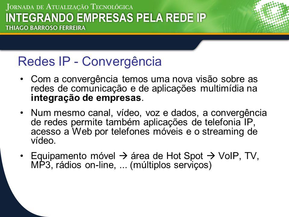 Redes IP - Convergência Com a convergência temos uma nova visão sobre as redes de comunicação e de aplicações multimídia na integração de empresas. Nu