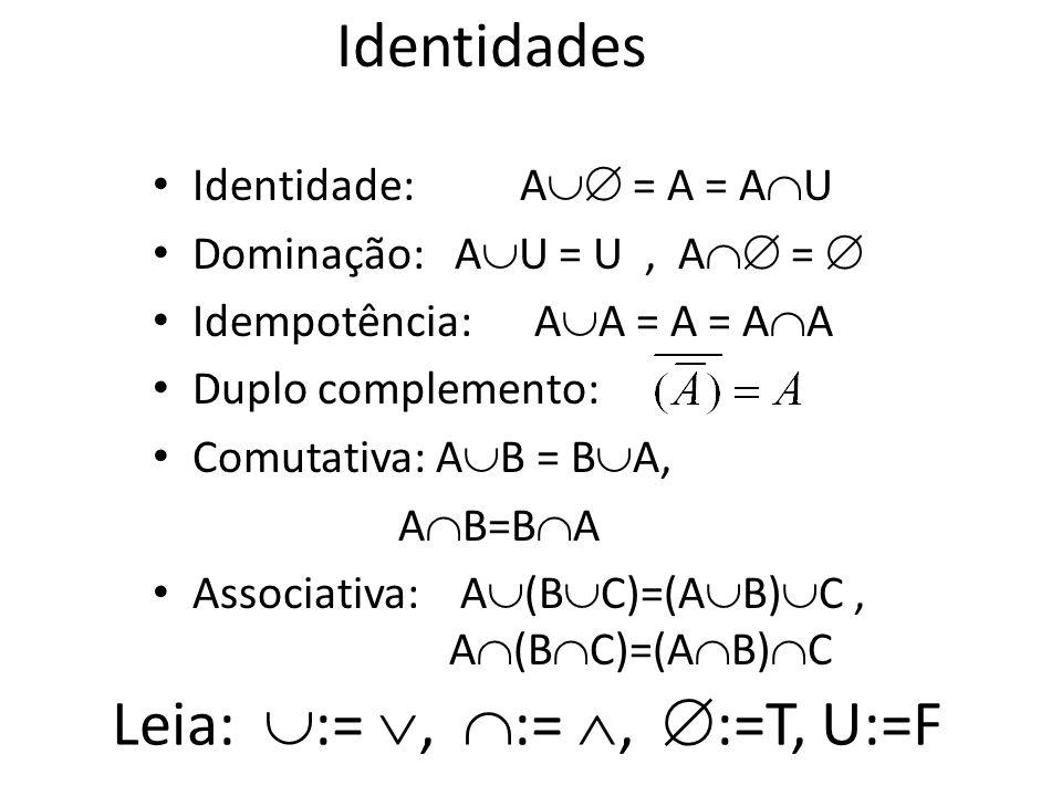 Complemento O universo de discurso pode ser considerado como um conjunto denominado U (conjunto universo). O complemento de A, é o complemento de A co