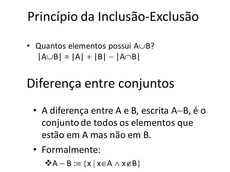 Disjunção Dois conjuntos A e B são ditos disjuntos sss sua interseção é vazia (A B= ) Exemplo: – Conjunto dos números pares e conjunto dos números ímp