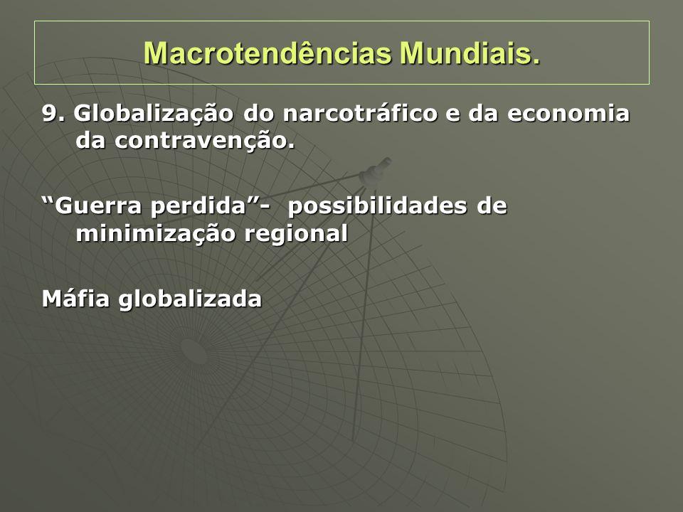 9. Globalização do narcotráfico e da economia da contravenção. Guerra perdida- possibilidades de minimização regional Máfia globalizada Macrotendência
