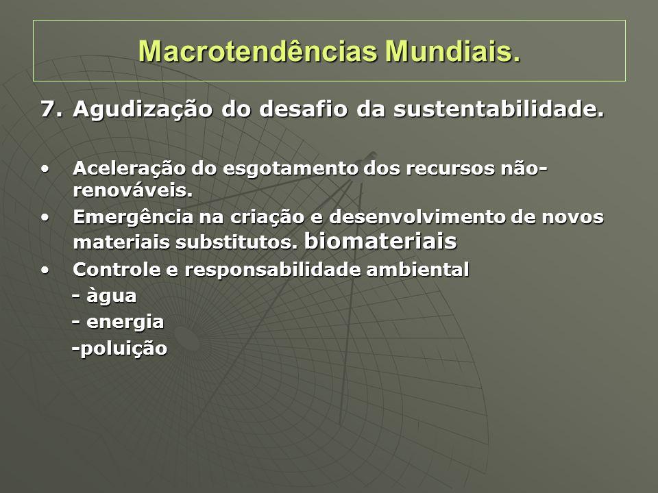 7.Agudização do desafio da sustentabilidade. Aceleração do esgotamento dos recursos não- renováveis.Aceleração do esgotamento dos recursos não- renová