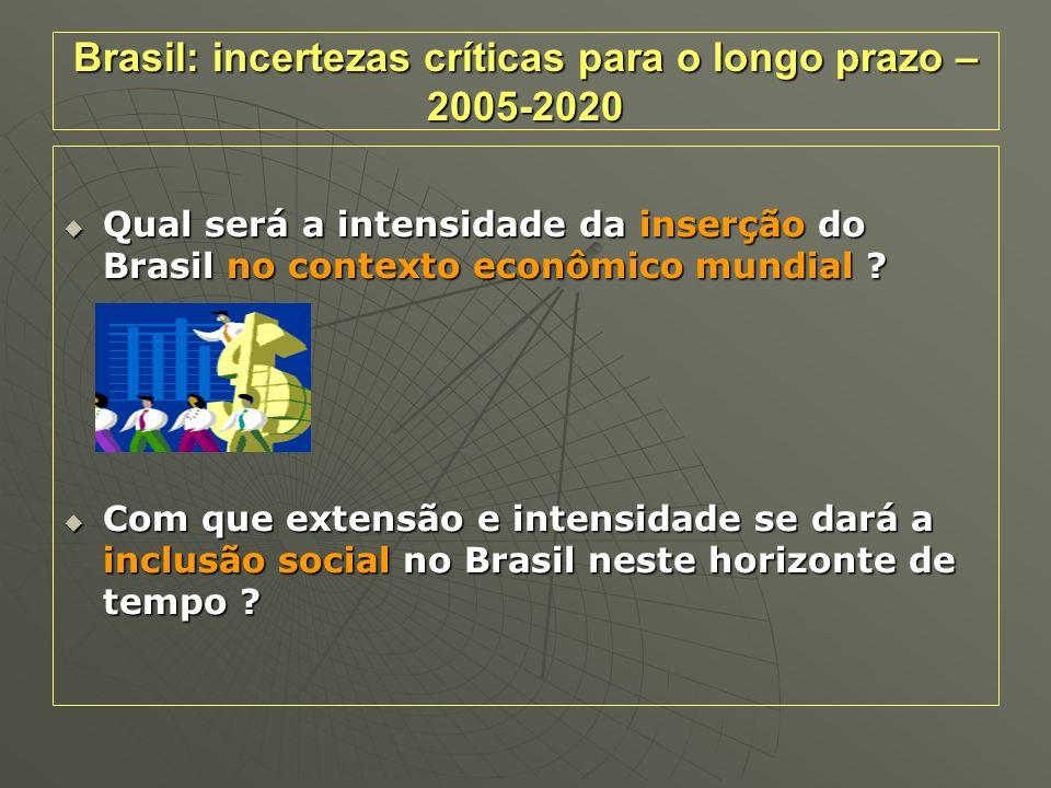 Brasil: incertezas críticas para o longo prazo – 2005-2020 Qual será a intensidade da inserção do Brasil no contexto econômico mundial ? Qual será a i