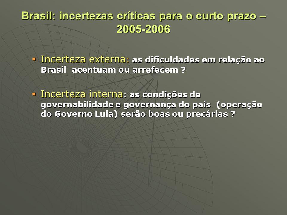 Brasil: incertezas críticas para o curto prazo – 2005-2006 Incerteza externa : as dificuldades em relação ao Brasil acentuam ou arrefecem ? Incerteza