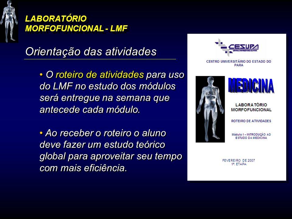 LABORATÓRIO MORFOFUNCIONAL - LMF Orientação das atividades O roteiro de atividades para uso do LMF no estudo dos módulos será entregue na semana que a