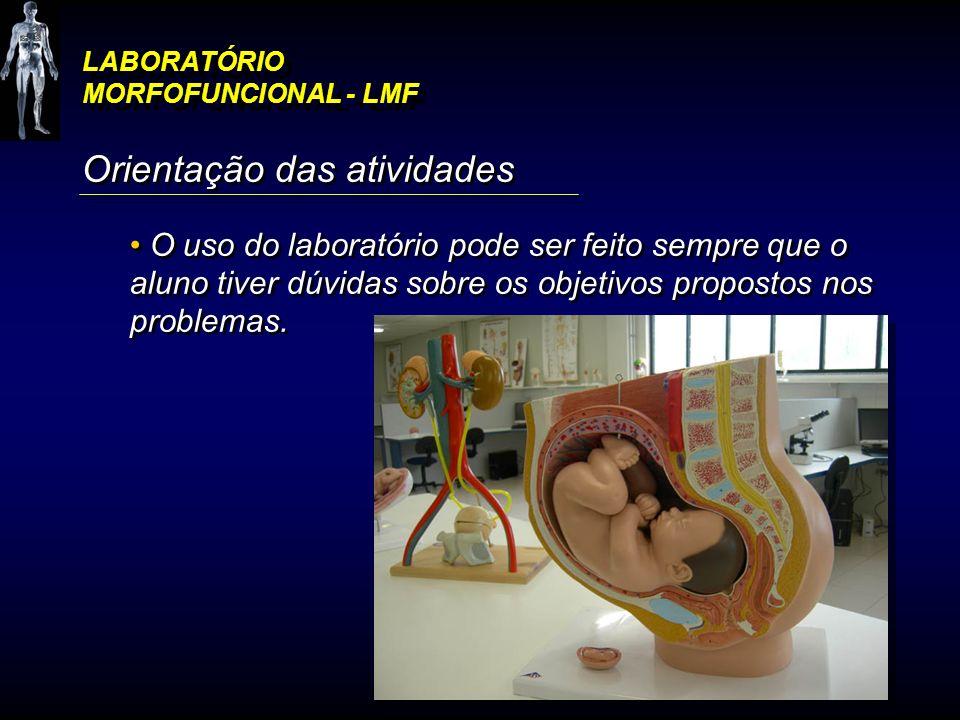 LABORATÓRIO MORFOFUNCIONAL - LMF Orientação das atividades O uso do laboratório pode ser feito sempre que o aluno tiver dúvidas sobre os objetivos pro
