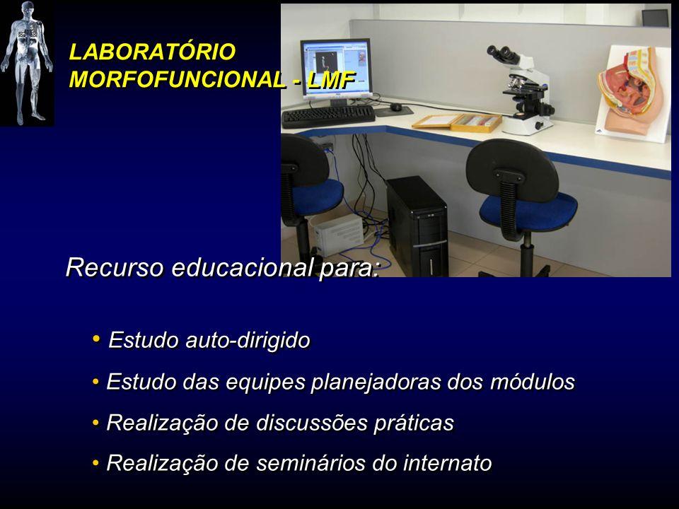 LABORATÓRIO MORFOFUNCIONAL - LMF Recurso educacional para: Estudo auto-dirigido Estudo das equipes planejadoras dos módulos Realização de discussões p