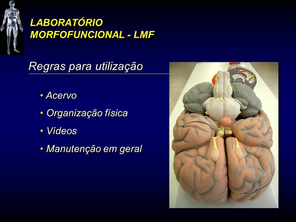 LABORATÓRIO MORFOFUNCIONAL - LMF Regras para utilização Acervo Organização física Vídeos Manutenção em geral Regras para utilização Acervo Organização
