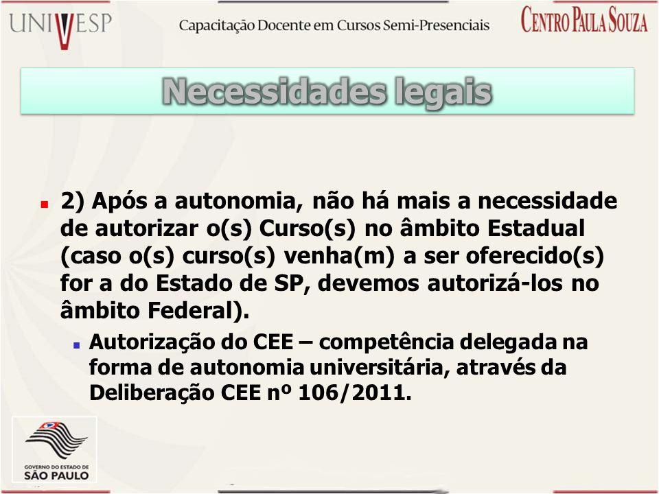 2) Após a autonomia, não há mais a necessidade de autorizar o(s) Curso(s) no âmbito Estadual (caso o(s) curso(s) venha(m) a ser oferecido(s) for a do