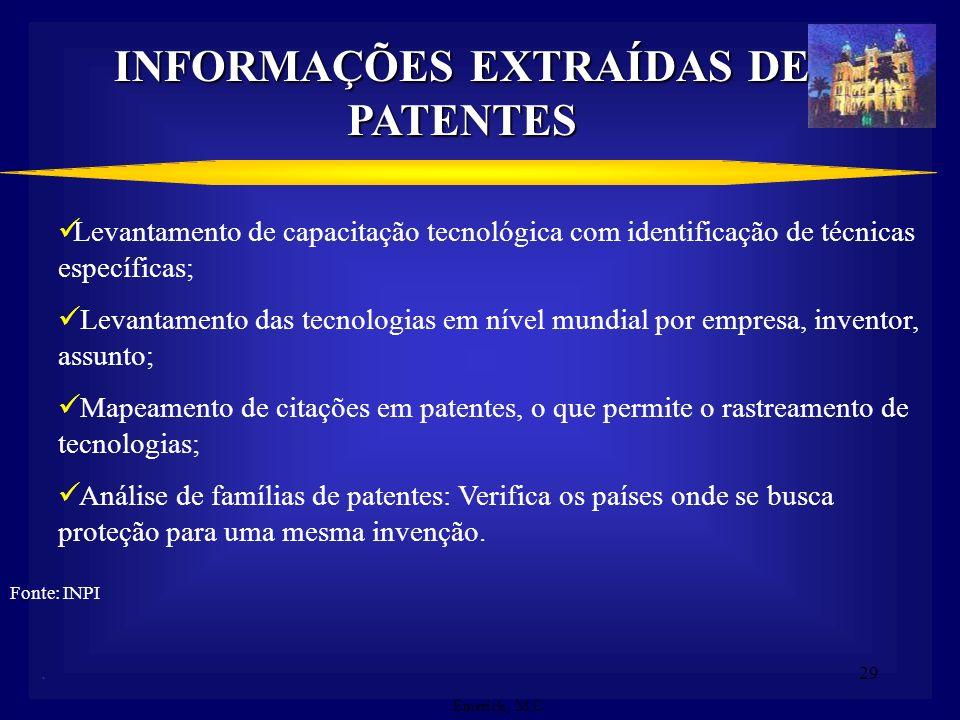 28. PATENTE COMO FONTE DE INFORMAÇÃO TECNOLÓGICA Crescimento anual aproximado de 500 mil documentos de patentes no mundo; 71% da tecnologia tem divulg
