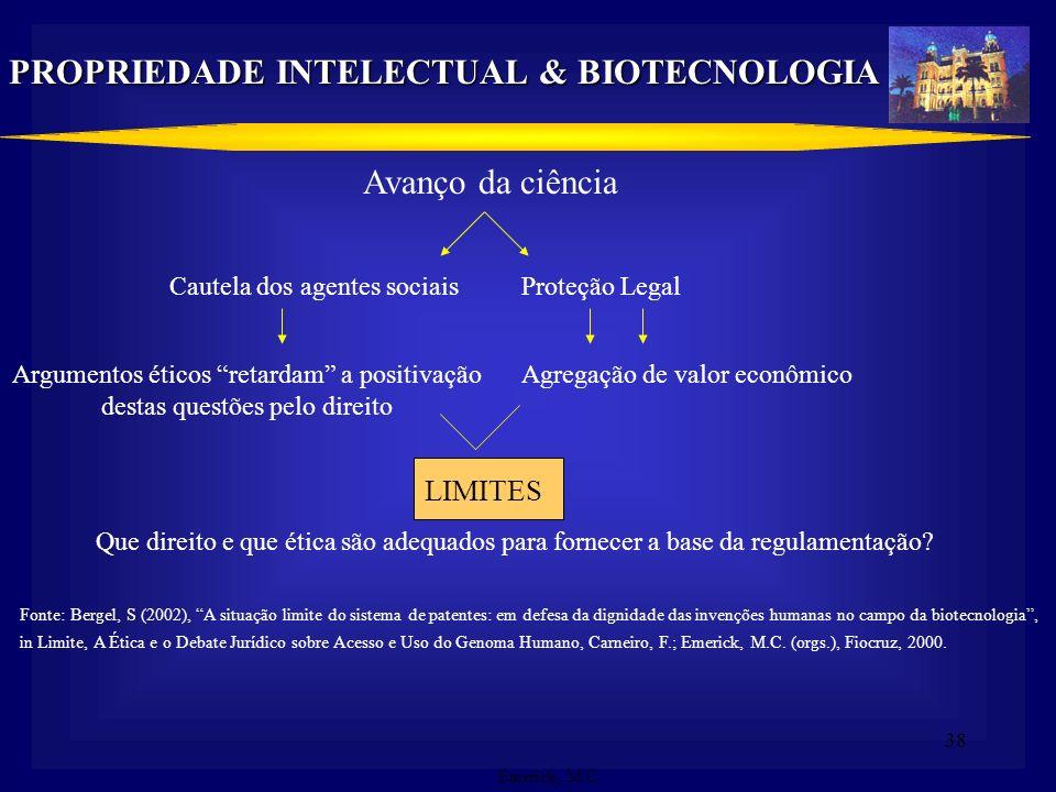 37 PROPRIEDADE INTELECTUAL & BIOTECNOLOGIA Recentes avanços científicos no domínio da biotecnologia moderna: Interesses antagônicos Difusão do resulta