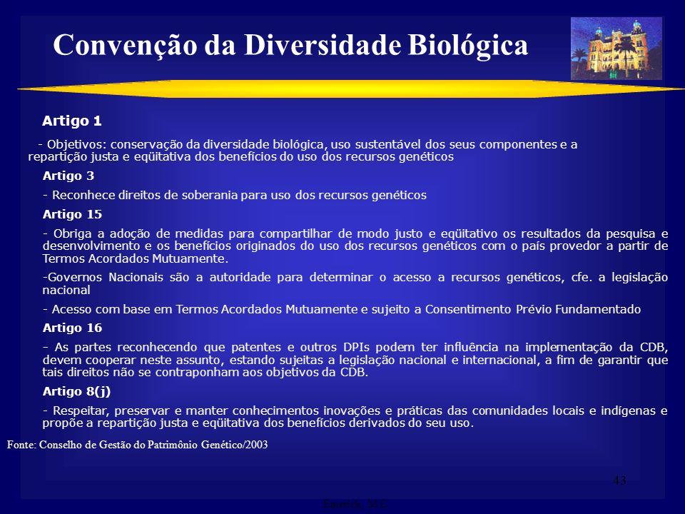 42 Assinada por 188 países – 168 já ratificaram (Brasil) Objetivos (Art. 1º): - a conservação da diversidade biológica - a utilização sustentável de s