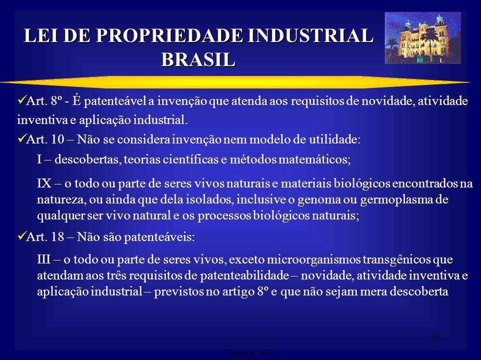 45 PROPRIEDADE INTELECTUAL NO BRASIL (Arcabouço Legal) Decreto Legislativo n.º 1.355/94: TRIPS (Trade Related Aspects of Intellectual Rights). Projeto