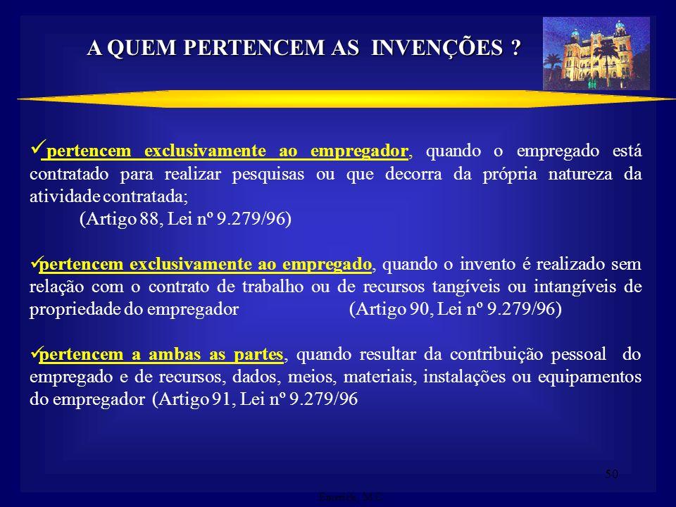 49 PROTEÇÃO CONFERIDA PELA LEI 9279/96 Art. 43 – O disposto do artigo anterior não se aplica: V – a terceiros que, no caso de patentes relacionadas co