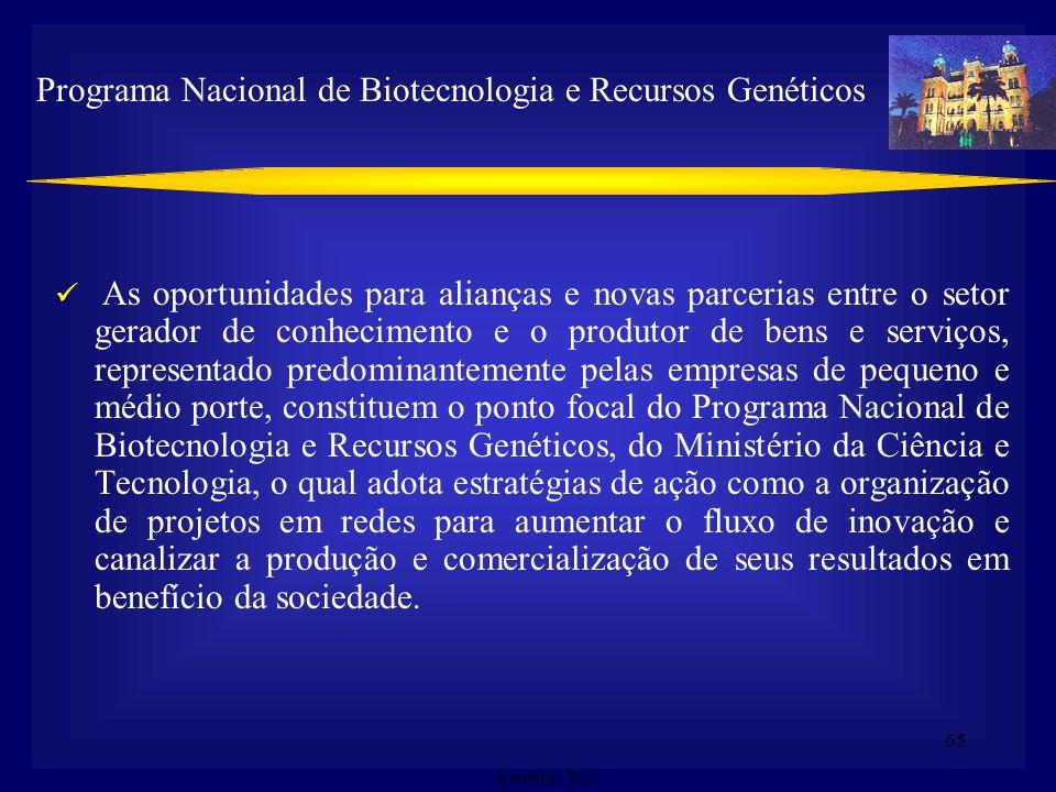 64 Programa Nacional de Biotecnologia e Recursos Genéticos (MCT/2002) Fórum de Competitividade em Biotecnologia (âmbito da Política Industrial do Gove