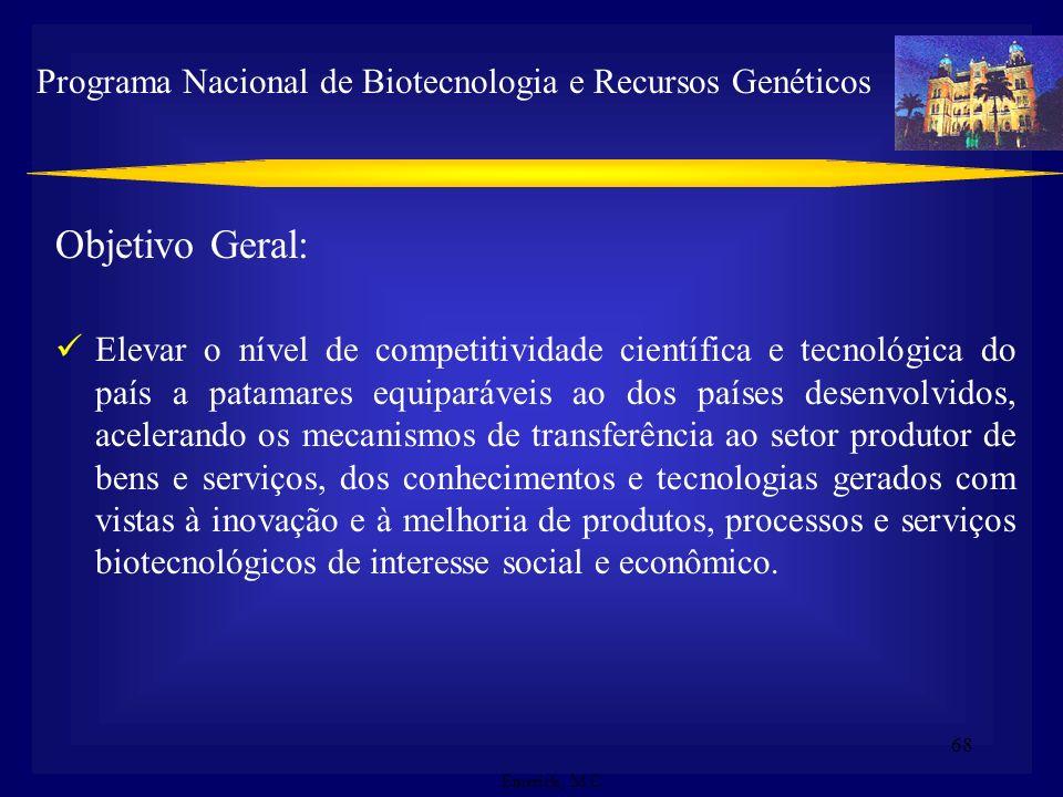 67 Ações : 1.Formação e capacitação de recursos humanos para a Biotecnologia 2. Expansão do conhecimento 3. Infra-estrutura nacional e suporte ao dese